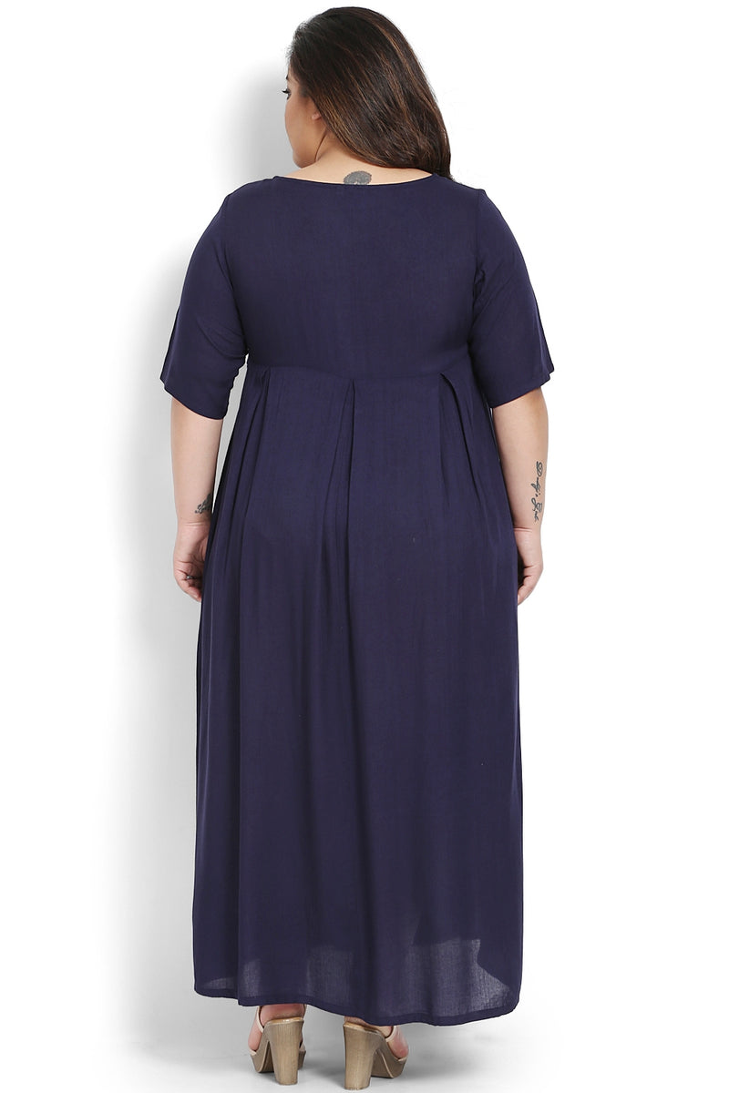 Navy Emroidery Detail Full Length Dress