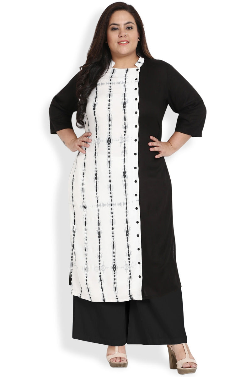 White Black Printed Dual Panel Kurti
