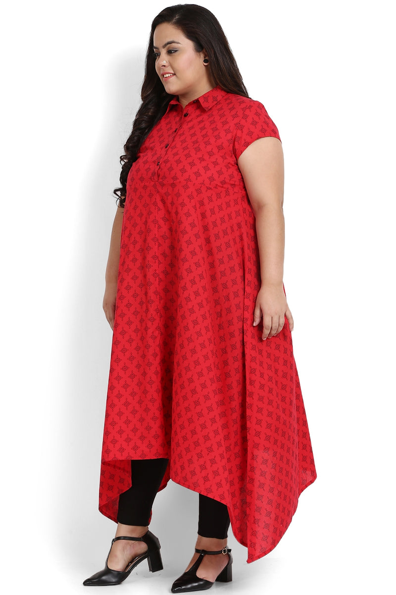 Red Printed Handkerchief Hemline Kurti