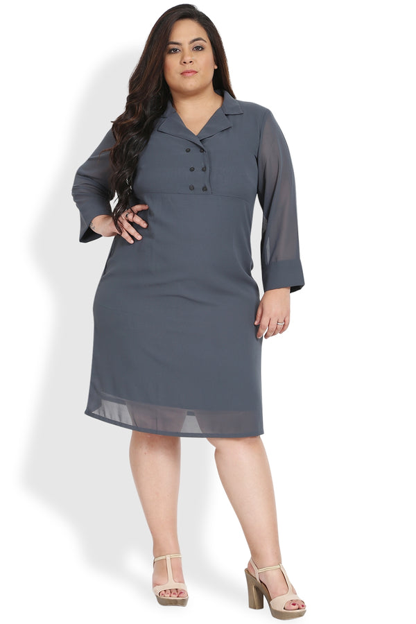 Grey Lapel Collar Button Detail Dress