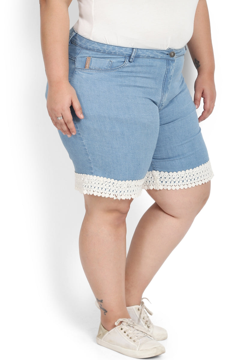 Mid Blue Washed Lace Denim Shorts