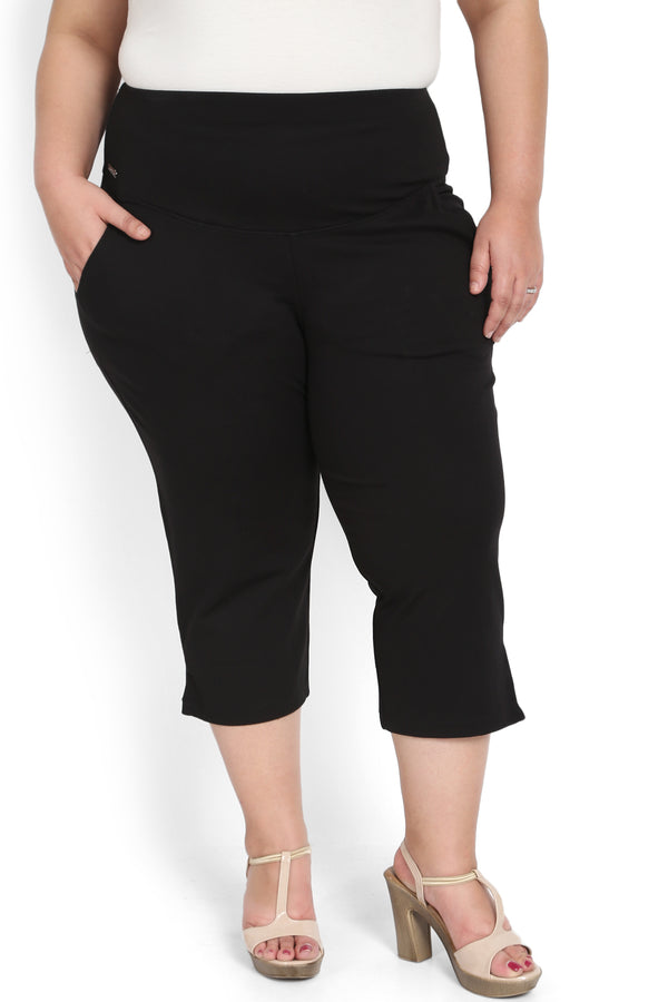 Black Tummy Tucker Crop Pants