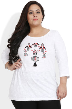 White Red Embroidered T Shirt