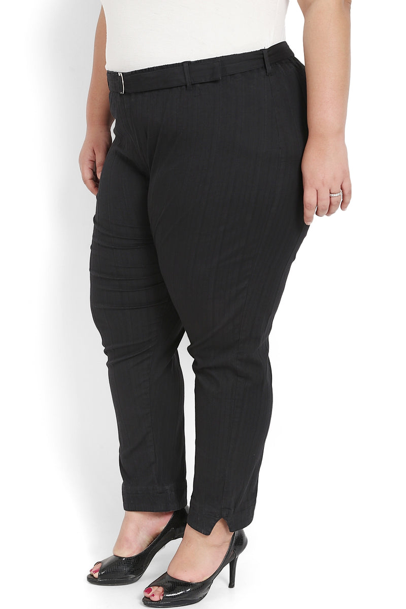 Black Self Pattern Relax Trousers