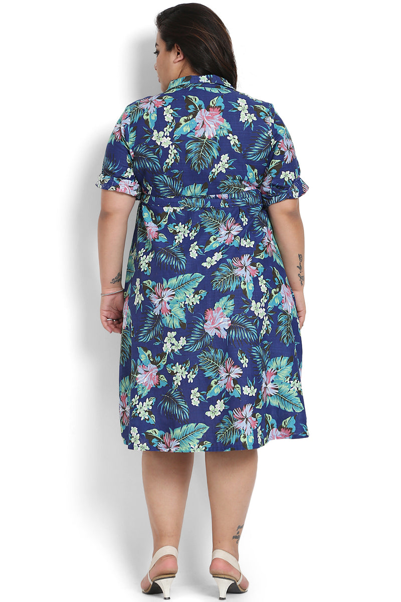 Blue Pink Floral Print Cuban Collar Dress