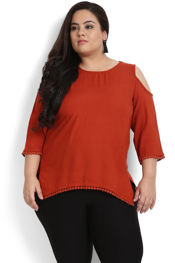 Rust Lace Detail Cold Shoulder Top