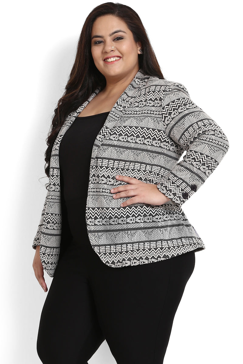 Black Aztec Weave Formal Knitted Jacket