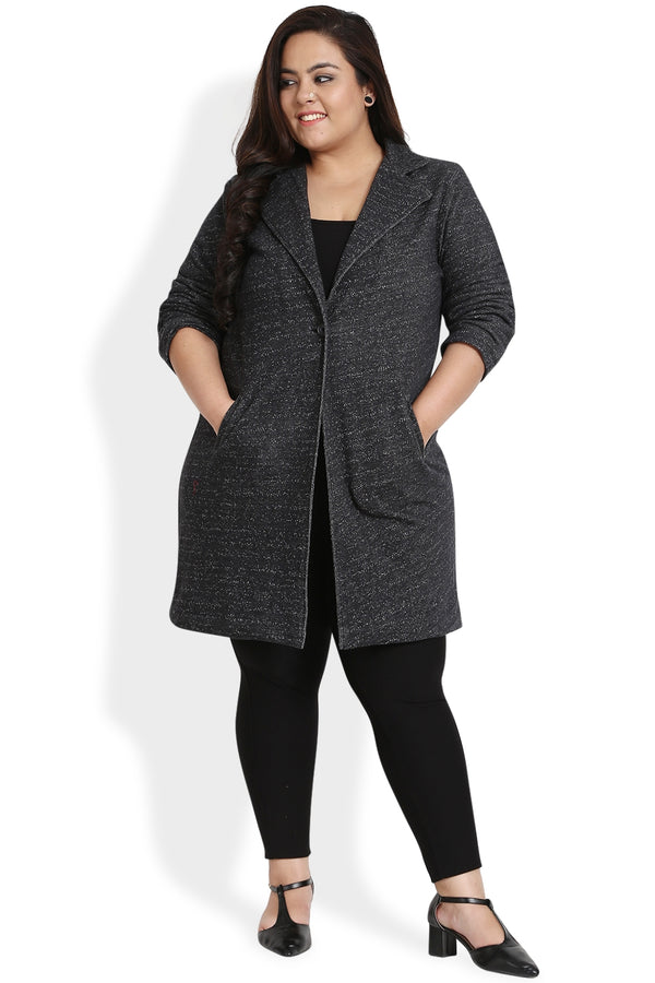 Black Single Button Long Coat