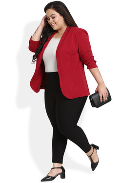 Chilly Red Formal Knitted Jacket