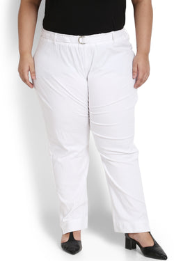 White Basic Stretchable Relax Trousers