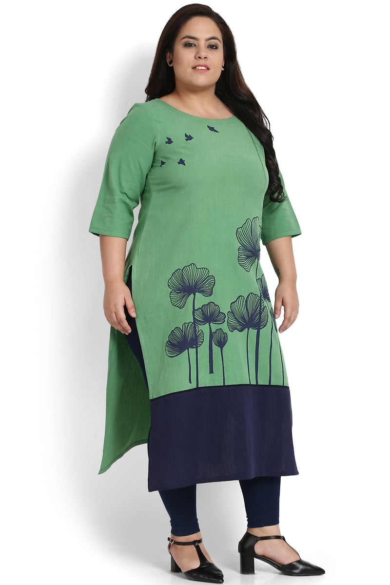 Vintage Green Bottom Panel Printed Kurti