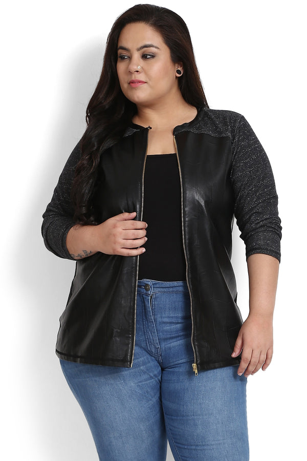 Black Leather Panels Zipper Sweatshirt