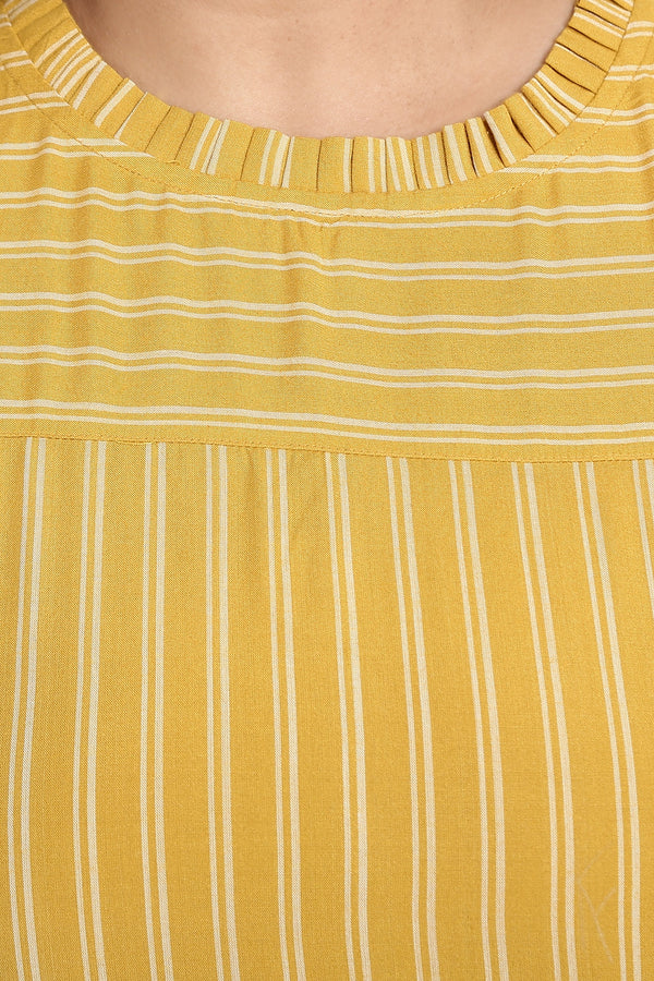 Yellow Stripe Printed Bell Sleeves Top