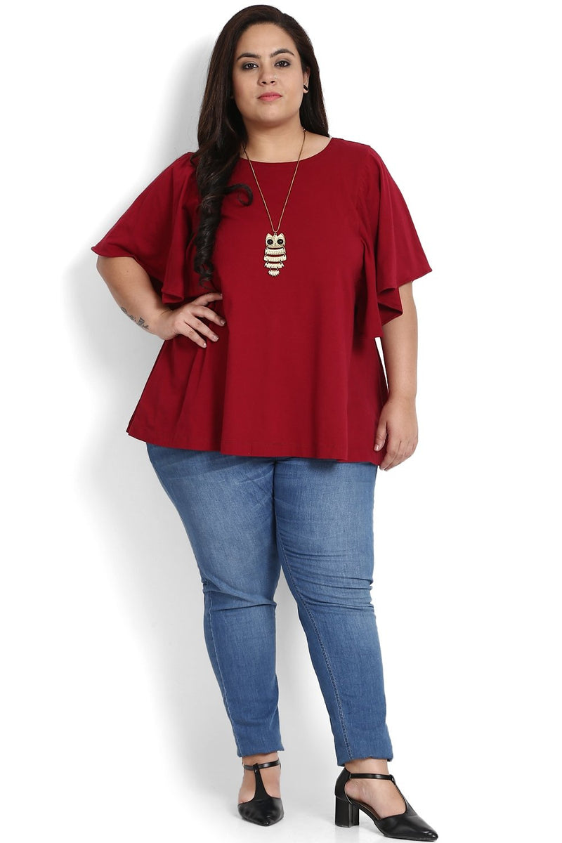 Chilly Red Bat Sleeve A Line Top