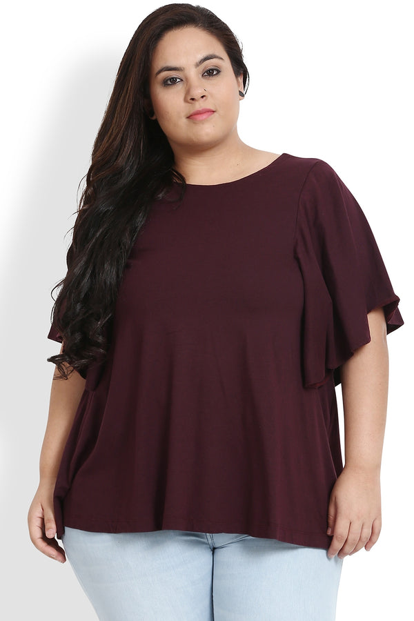 Plum Bat Sleeve A Line Top