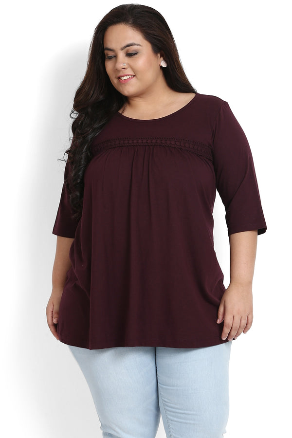 Plum Lace Fit & Flare Top