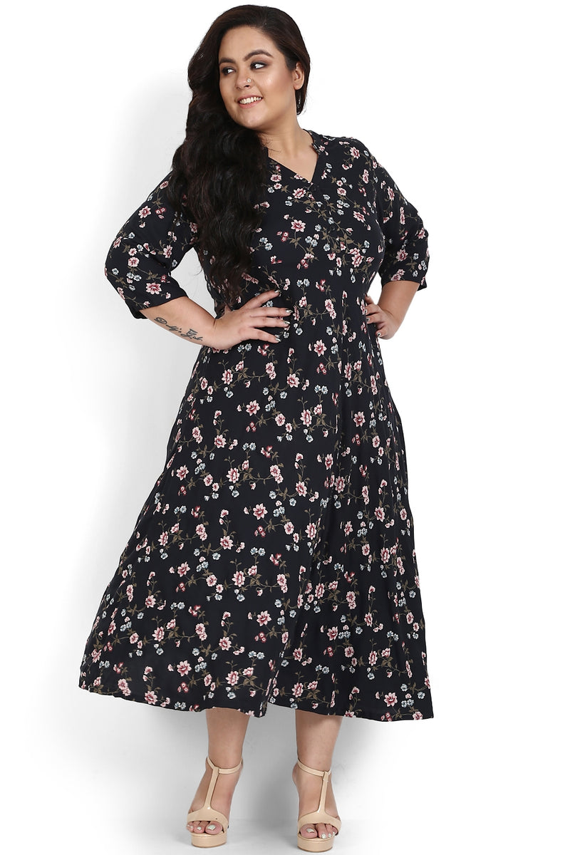 Black Floral Print Full Length Dress