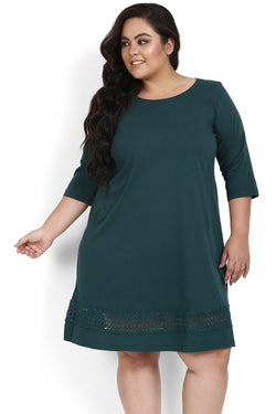 Emerald Green Lace Knitted Dress