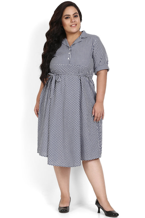 Navy Gingham Check Cuban Collar Dress
