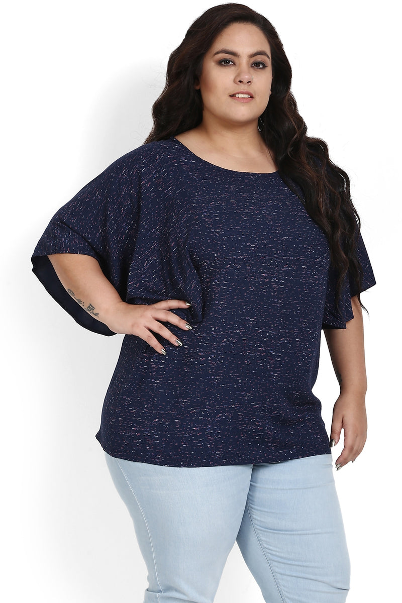Navy Printed Butterfly Sleeve Top