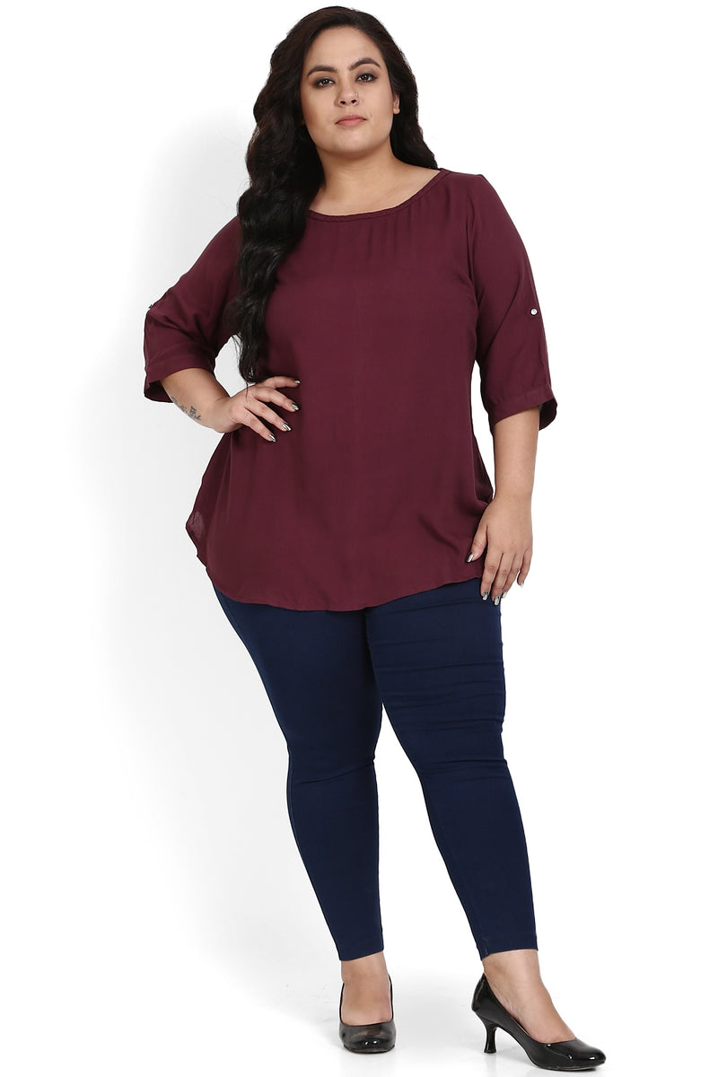 Plum Basic Braided Neck Top