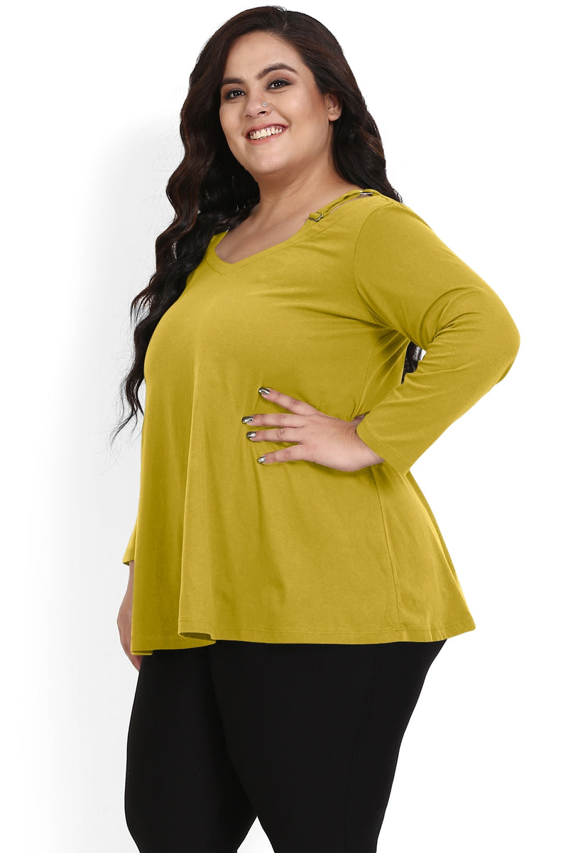 Olive Green Scooped V Neck A Line Tee