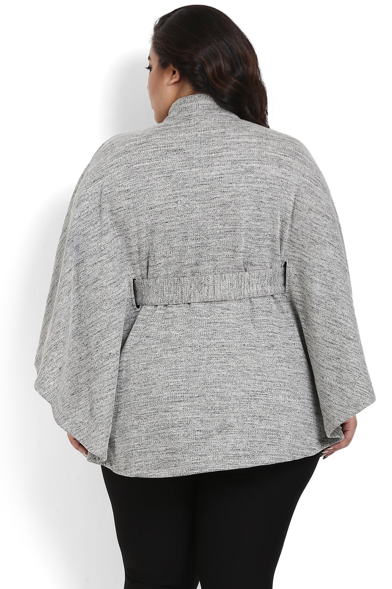 Grey Belt Detail Poncho