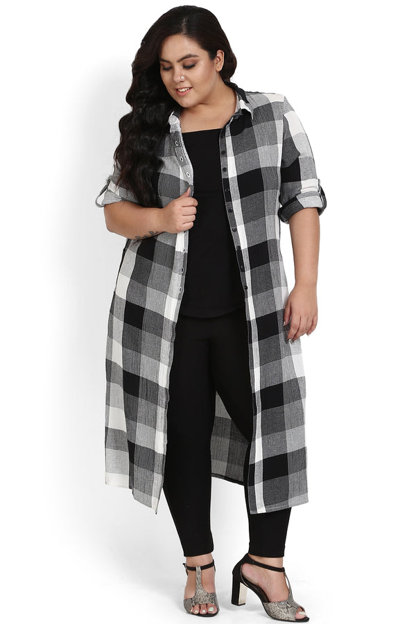 Black White Check Three Slit Kurti