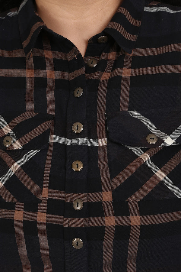 Brown Check Printed Shirt