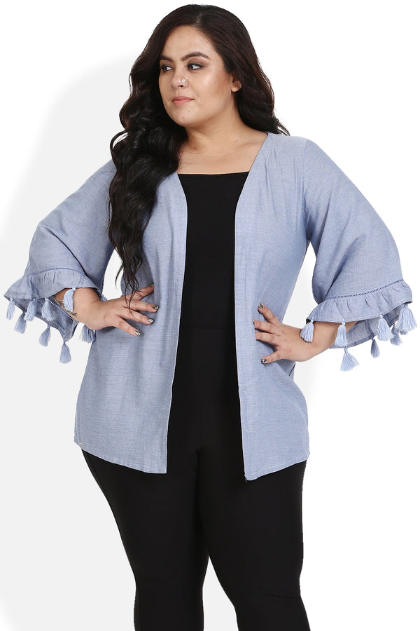 Powder Blue Lace & Tassel Shrug