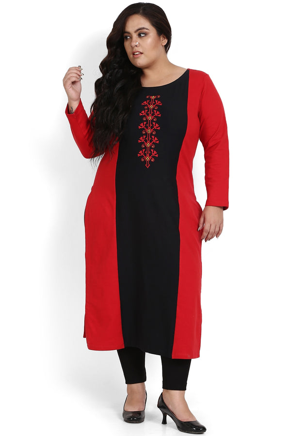 Red Black Panel Embroidery Autumn Kurti