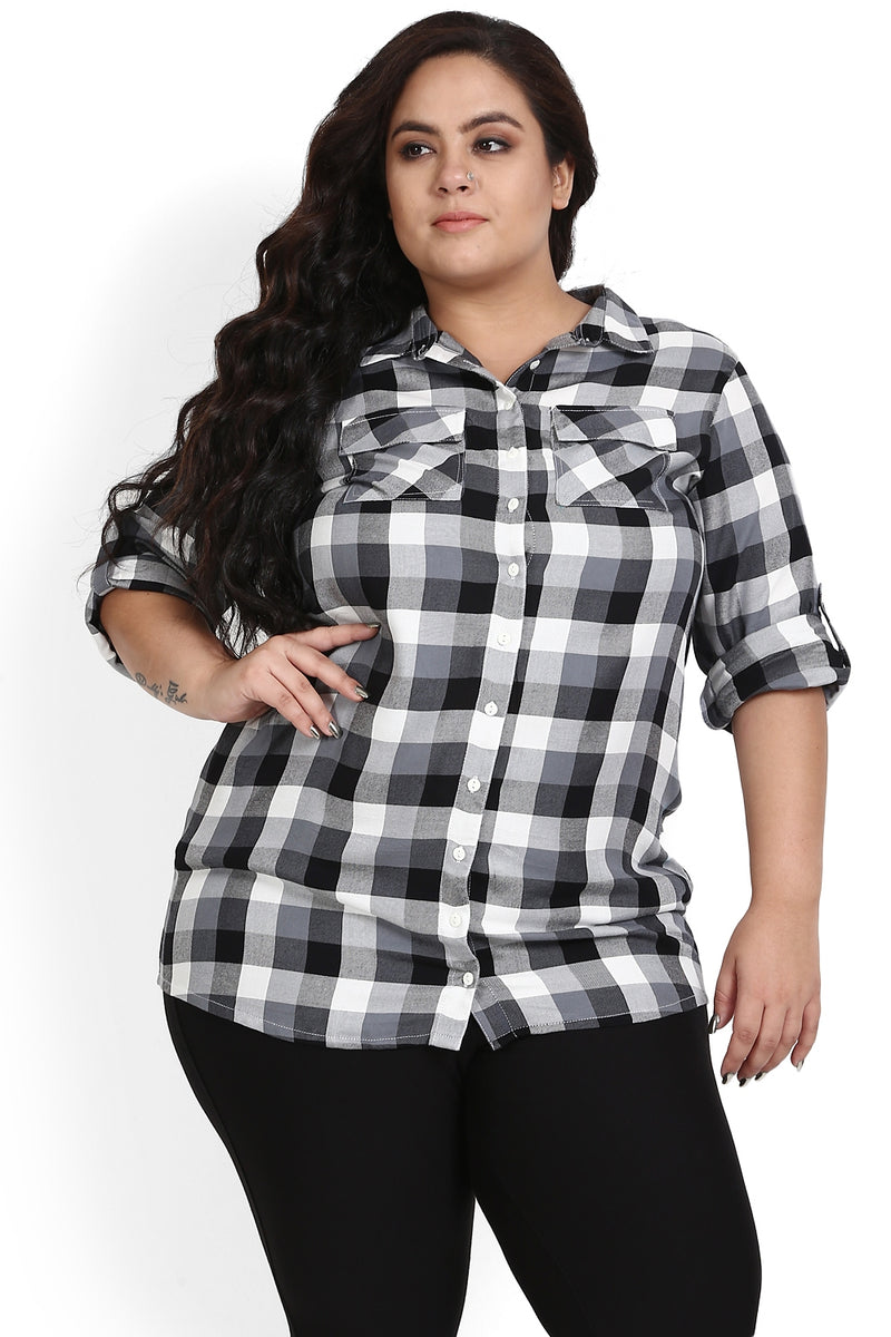 Black White Check Printed Shirt