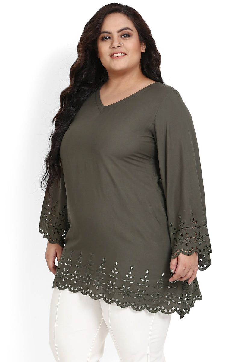 Olive Schiffli Bell Sleeves Top