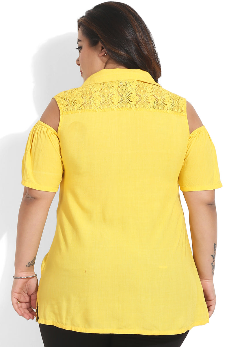 Yellow Lace Detail Cold Shoulder Top
