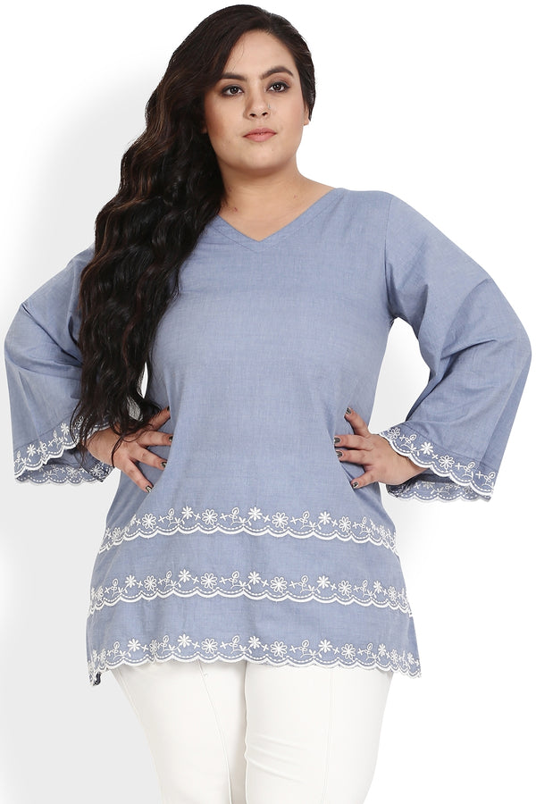 Grey Blue Schiffli Bell Sleeves Top