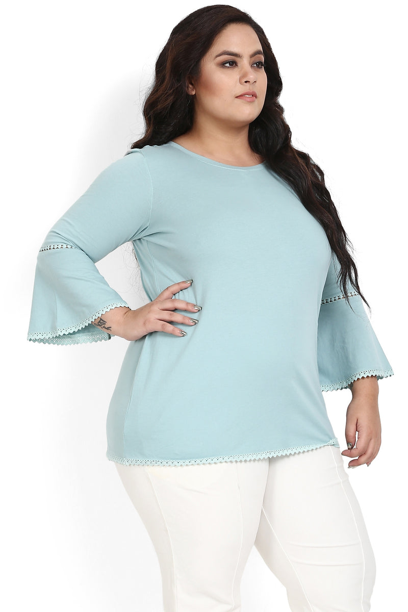 Sea Foam Geen Lace Bell Sleeves Top