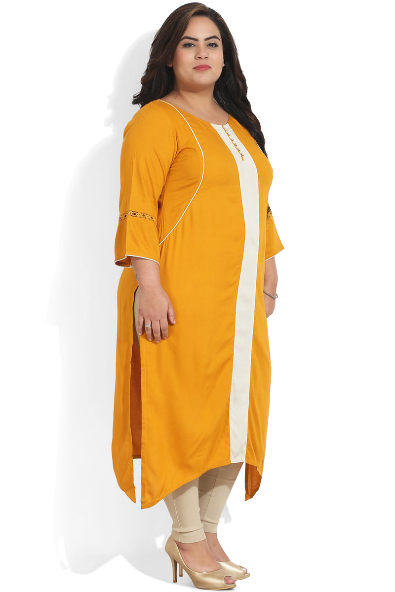 Mustard Cream Color Block Kurti
