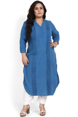 Cobalt Blue Pleat Detail Round Hemline Kurti