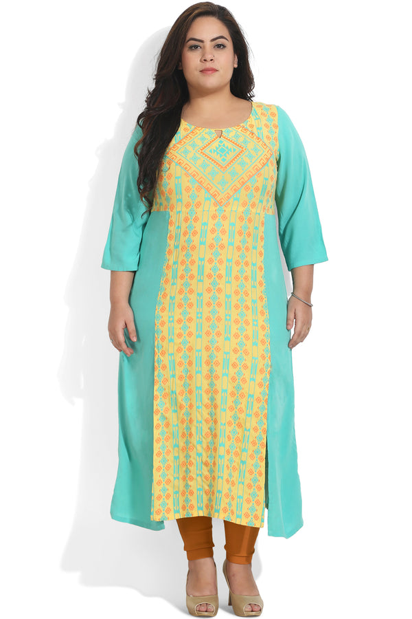 Turquoise Yellow Front Aligned Side Slit Color Block Kurti
