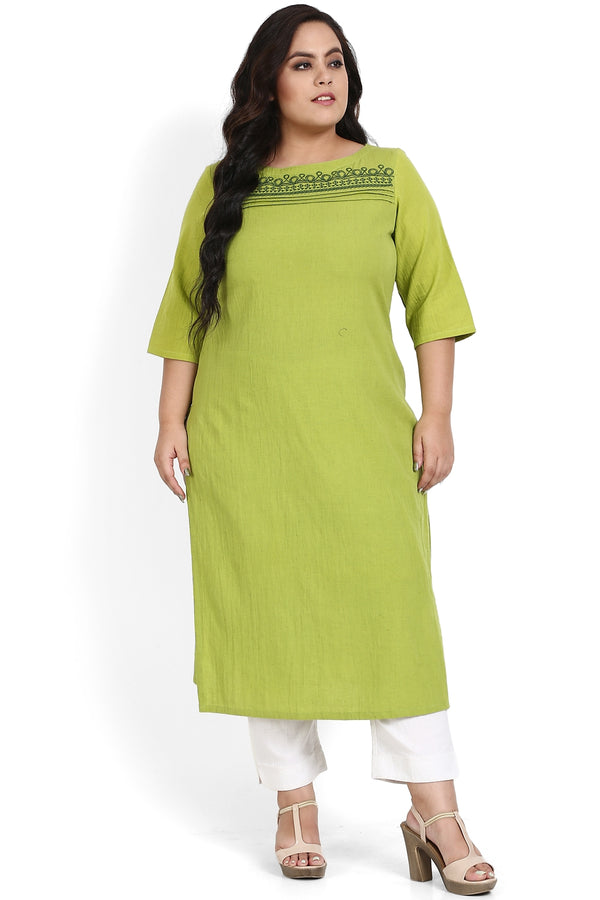 Parrot Green Yoke Embroidery Detail Kurti