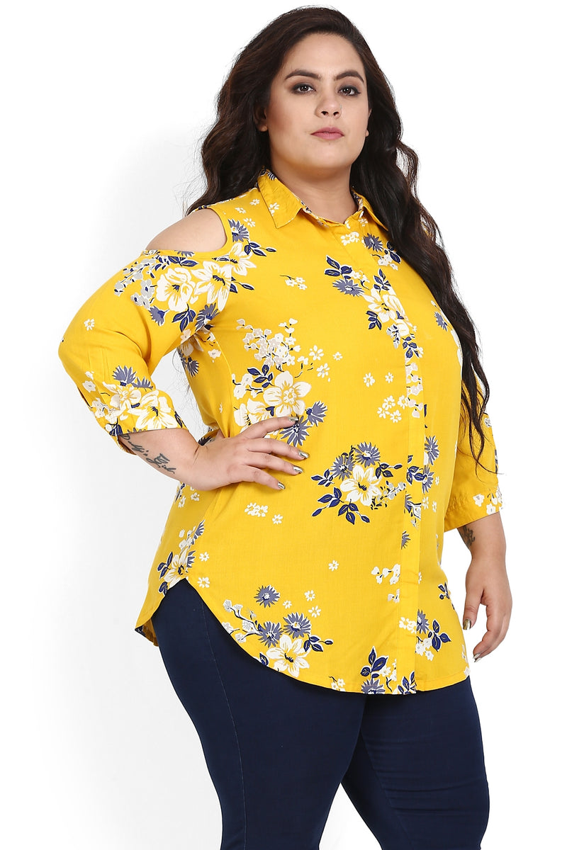 Yellow Flower Print Cold Shoulder Shirt
