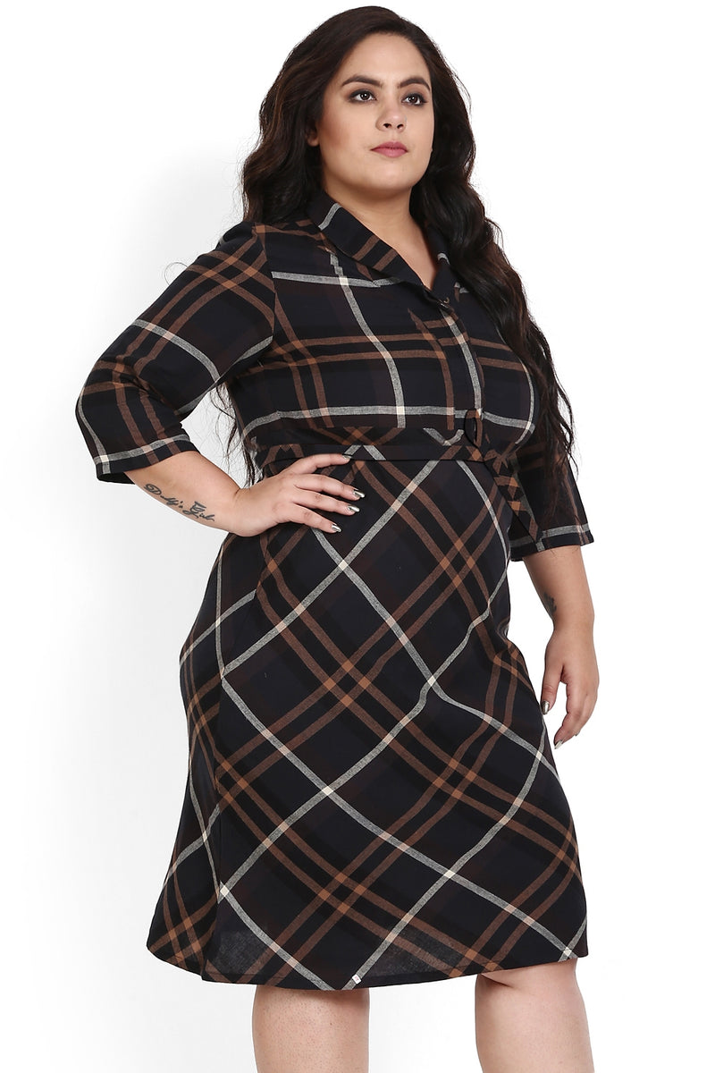 Brown Black Check Cowl Neck Dress