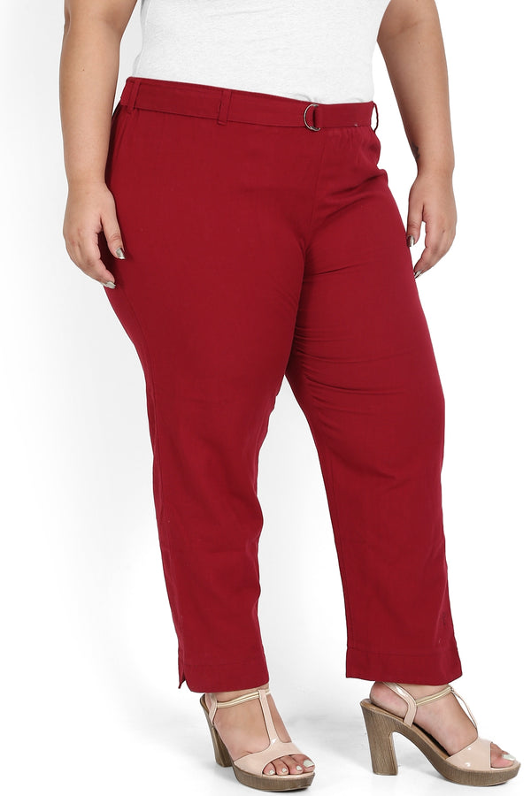 Chilly Red Stretchable Relax Trousers
