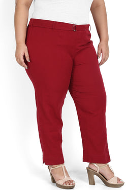 Chilly Red Cotton Relax Trousers
