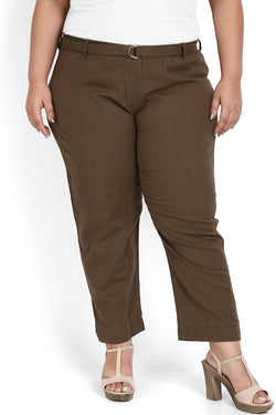 Olive Green Cotton Relax Trousers