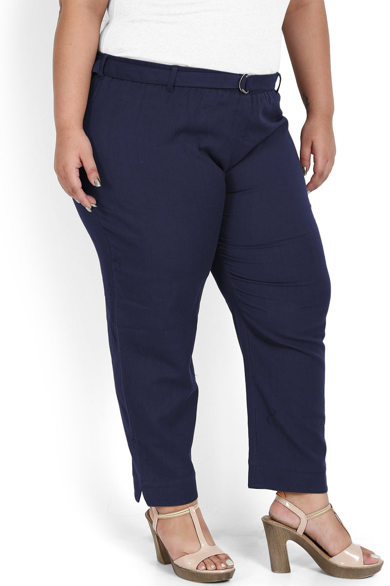 Navy Basic Stretchable Relax Trousers