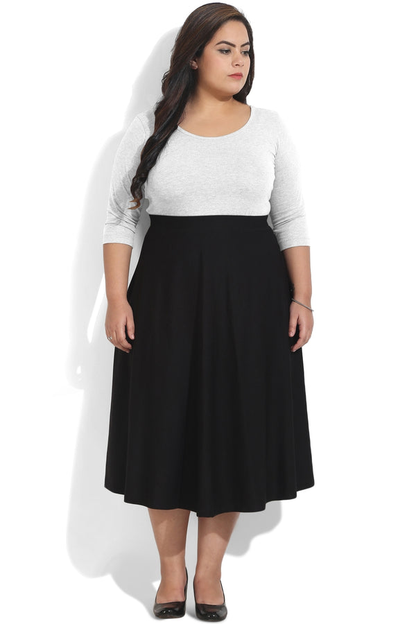 Black High Waist Midi Skirt