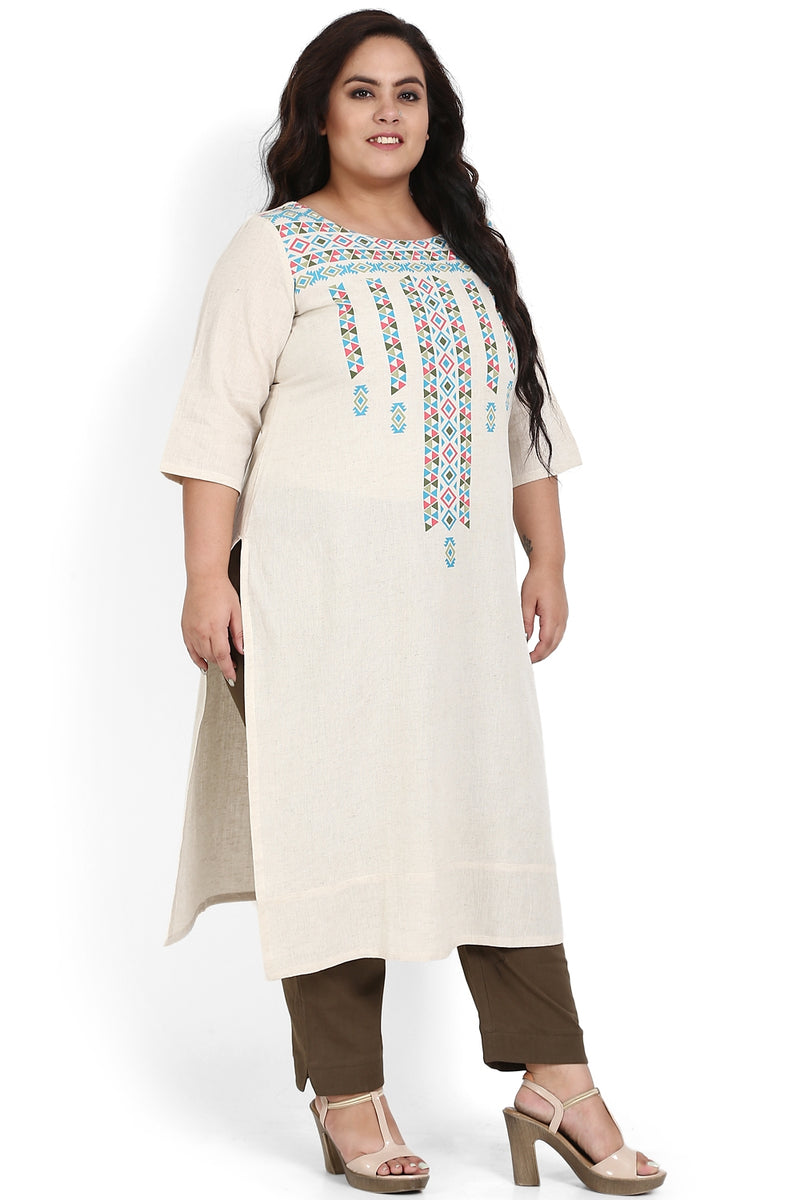 Cream Multicolor Vertical Print Kurti