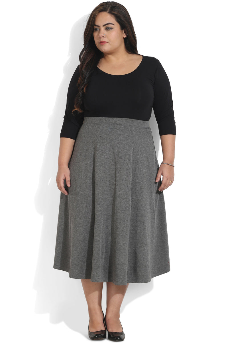 Grey HIgh Waist Midi Skirt