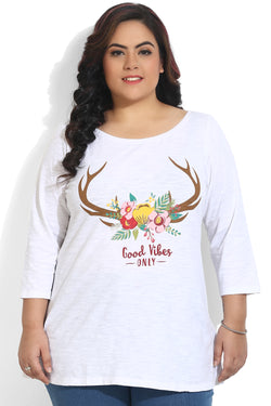 White Good Vibes Print T-Shirt